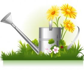 Garden watering design vector graphics 01