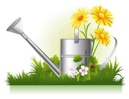 Garden watering design vector graphics 01