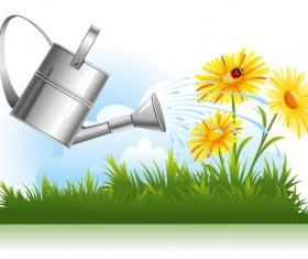 Garden watering design vector graphics 02