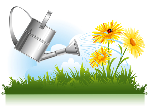 Garden watering design vector graphics 02