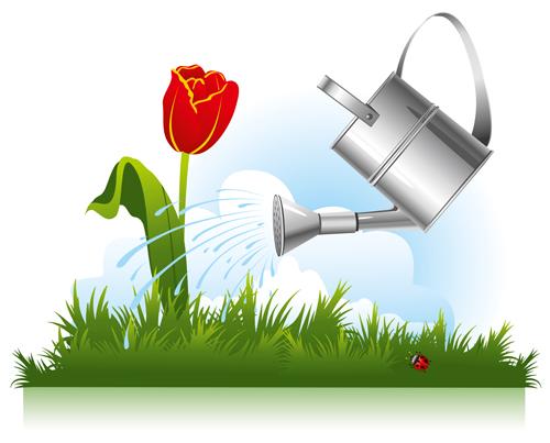 Garden watering design vector graphics 03