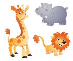 Giraffes elephants and lions icons vector and photoshop brushes