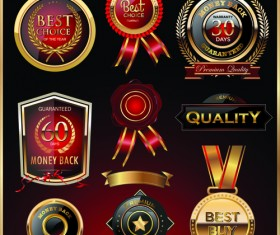 Glass textured quality labels with badge vector 01