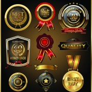 Link toGlass textured quality labels with badge vector 02