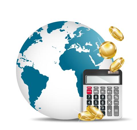 Globe with calculators vector