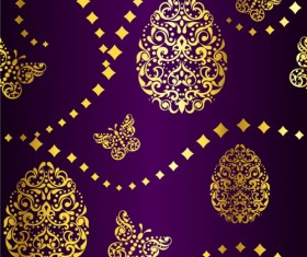 Golden easter pattern and purple background vector 01