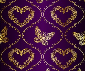 Golden easter pattern and purple background vector 03