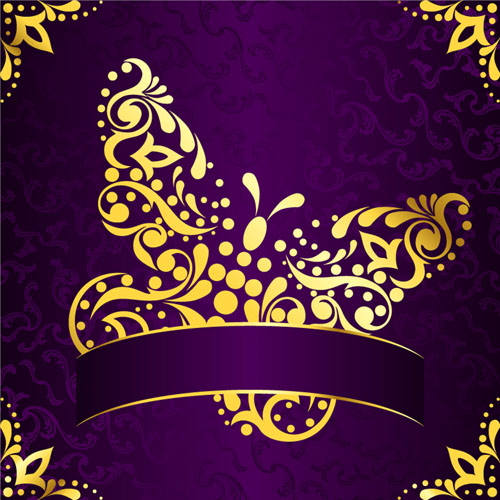 Golden Easter Pattern And Purple Background Vector 04
