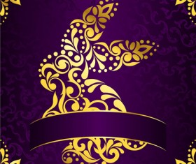 Golden easter pattern and purple background vector 05