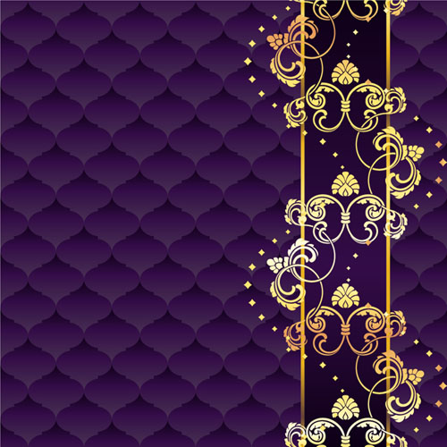 Golden floral with purple textures background vector ...