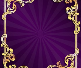 Golden frame with purple background vector 01