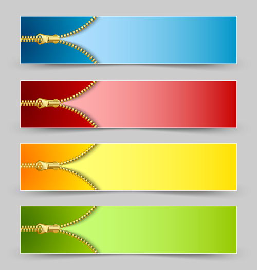 Golden zipper banner vector - Vector Banner free download