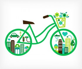Green bicycle and city vector