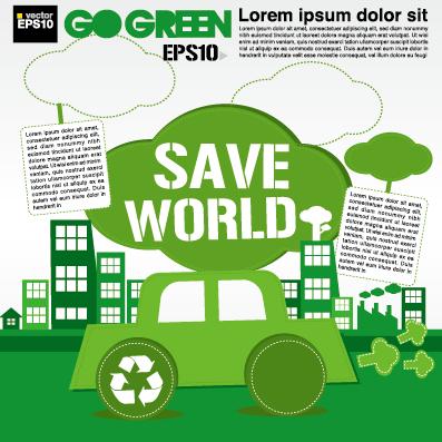 Green Ecology City Concept Design Vector 02 Over