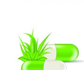 Green medical capsule design vector 05