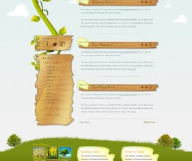 Green tree and wood style psd website template