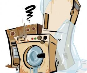 Grunge household appliances design vector graphics 01