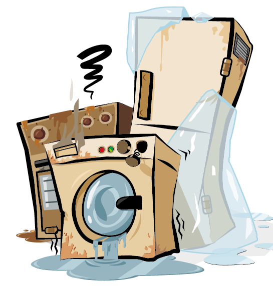 Grunge household appliances design vector graphics 01 for Household appliances design