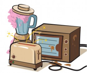 Grunge household appliances design vector graphics 02