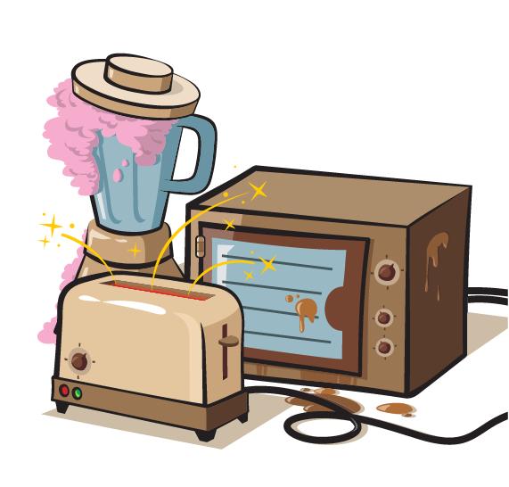 Grunge household appliances design vector graphics 02
