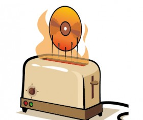Grunge household appliances design vector graphics 03