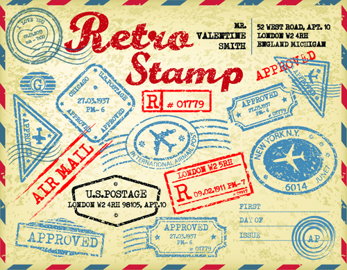 Grunge Travel Stamps Vector Graphics 01 Vector Label