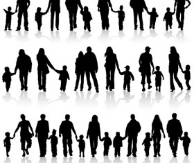 Happiness family vector silhouettes