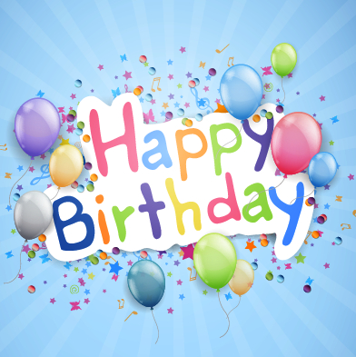 Happy birthday background with balloon vector
