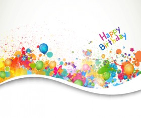 Happy birthday balloon grunge background vector graphics 02