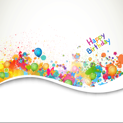 Happy birthday balloon grunge background vector graphics 02