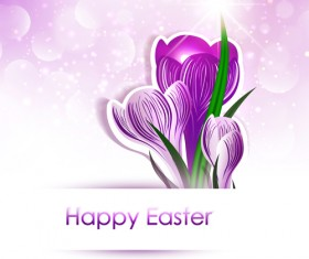 Happy easter flower shiny background vector 01