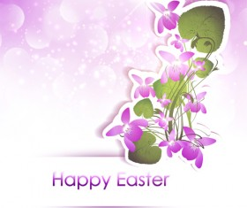 Happy easter flower shiny background vector 02