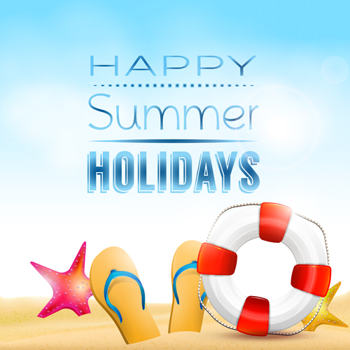 Happy Summer Holidays Elements Vector Background 04