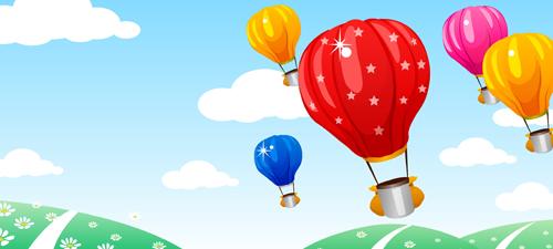 Hot Air Balloon and beautiful views vector 01