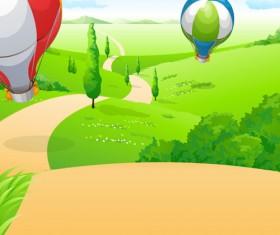 Hot Air Balloon and beautiful views vector 02