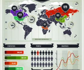 Infographics and world map creative vector 01