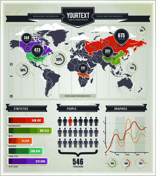 infographics and world map creative vector 01 vector