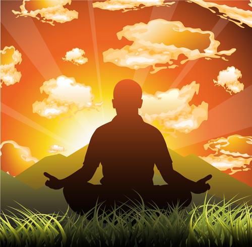 Meditation design elements vector graphics 02