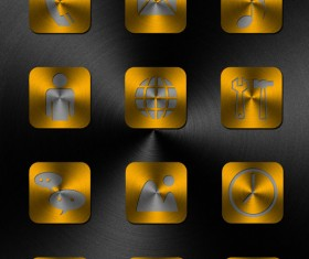 Metal style square application icons