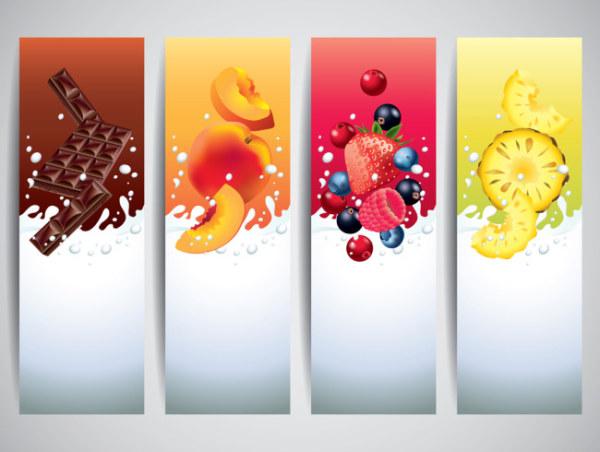 milk drinks banner creative vector free download