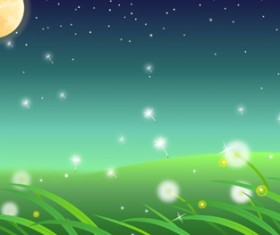 Moon and dandelions beautiful landscapes vector