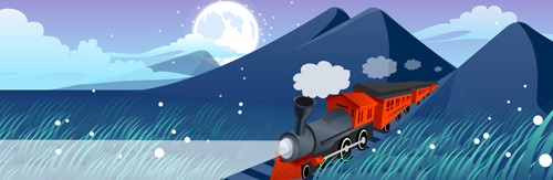 Mountains and train design vector
