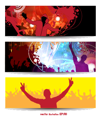 Music party creative banner vector graphics 03