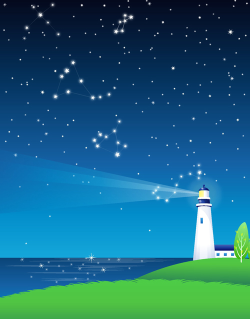 Night sky and searchlights vector background