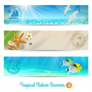 Link toOcean with beach holiday banner vector