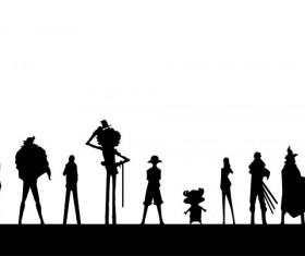 One Piece character silhouettes vector
