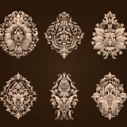 Link toOrnamental floral damask elements vector material 02