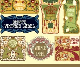 Ornate vintage labels creative vector set 09