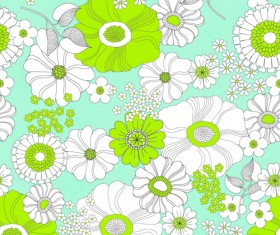 Outline flower seamless pattern vector