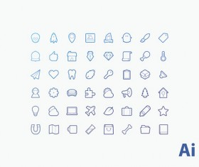 Outline icons cute design vector